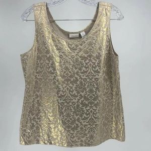 Chico's Top Women Size Medium Gold Damask Shell Pu